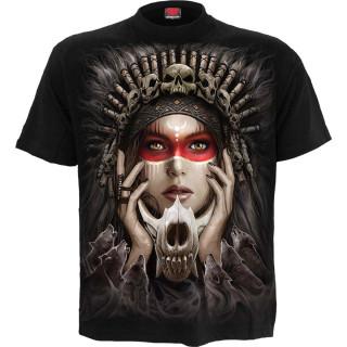 T-shirt homme à loups sur attrape-rêves et femme chamanique