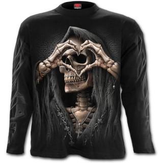 """T-shirt homme manches longues """"Amour noir"""" avec la Mort formant un coeur"""