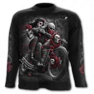 T-shirt homme manches longues biker à moto custum et crane mexicain