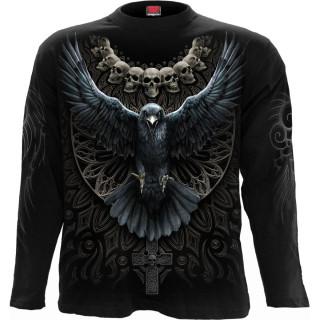 T-shirt homme manches longues à corbeau ailes déployées et cranes