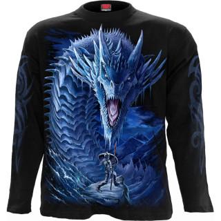 T-shirt homme manches longues à guerrière combattant un Dragon de Glace