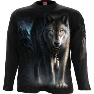 T-shirt homme manches longues à loup en forêt et attrape rêves amérindien