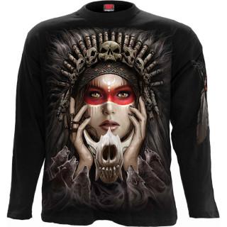 T-shirt homme manches longues à loups sur attrape-rêves et femme chamanique