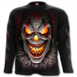 """T-shirt homme manches longues """"Nuit d'effroi"""" à clown brûlant"""