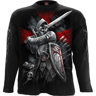 T-shirt homme manches longues squelette soldat en armure et blason Lion