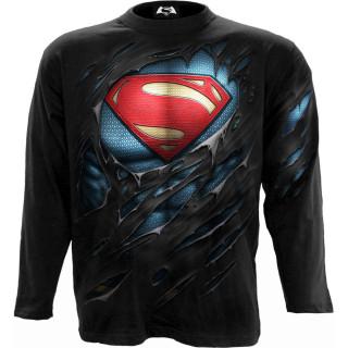 T-shirt homme manches longues SUPERMAN aspect déchiré (licence officielle)