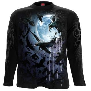 T-shirt homme manches longues à volée de corbeaux et pleine lune bleue