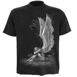 T-shirt homme noir avec femme ange enchainée et pentagramme