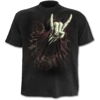 T-shirt homme noir avec guitariste faisant le salut Rock