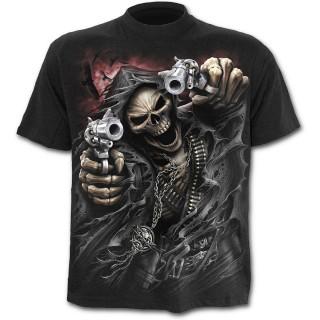 T-shirt homme noir avec La Mort avec ses pistolets