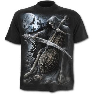 T-shirt homme noir avec La Mort jouant de la musique avec sa faux