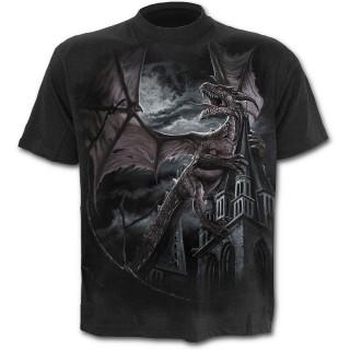 T-shirt homme noir à Dragon conquérant le royaume magique