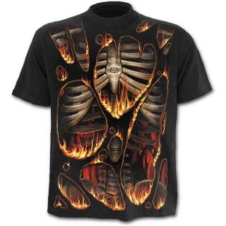 T-shirt homme noir à effet combustion spontanée
