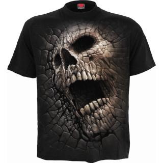 T-shirt homme noir effet craquelé à tête de mort et pentacle