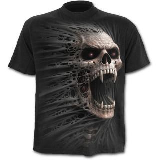T-shirt homme noir imitation vampire déchirant le vêtement