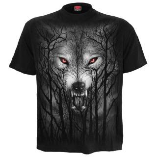 T-shirt homme noir à loup hurlant dans les arbres et pleine lune
