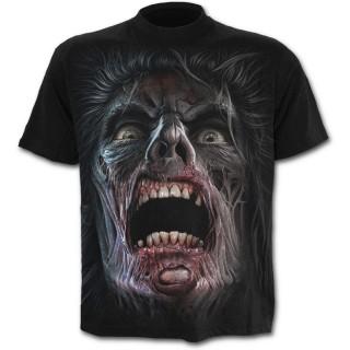 """T-shirt homme noir """"marche des morts"""" avec zombies et éclairs"""