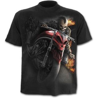 T-shirt homme noir à motard Mohawk en squelette