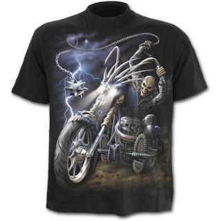 T-shirt homme noir à moto dévoreuse d'âmes et biker
