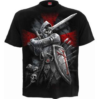 T-shirt homme squelette soldat en armure et blason Lion