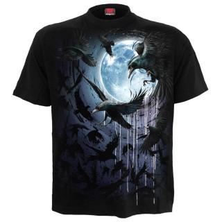 T-shirt homme à volée de corbeaux et pleine lune bleue