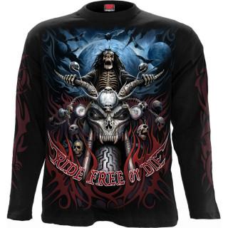 T-shirt manches longues homme à biker squelette