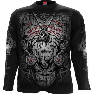T-shirt manches longues homme à démon utilisant une planche Ouija