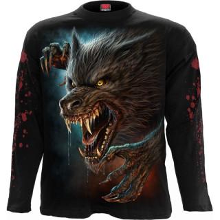 T-shirt manches longues homme à loup garou féroce hurlant à la lune