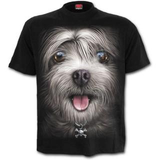 T-shirt mixte à chien avec collier tête de mort