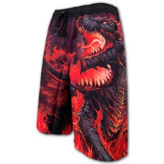 Short de bain homme gothique à dragon crachant des flammes