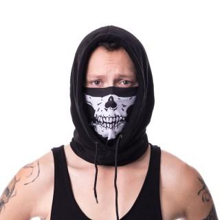 Snood (masque) capuche noir à squelette blanc