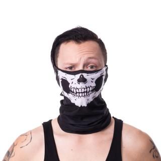 Snood (masque) noir gothique à machoire squelette blanc