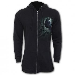 Sweat-capuche femme gothique à corbeau de l'ombre (coupe queue de poisson)