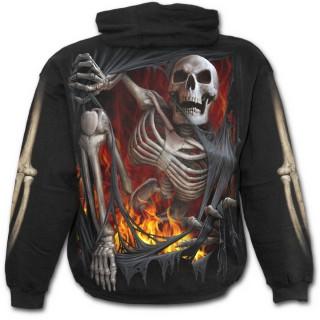 Sweat capuche gothique noir pour enfant à effet squelette sortant du vetement en flamme