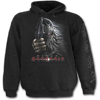 Sweat capuche gothique noir pour enfant avec squelette assassin ninja