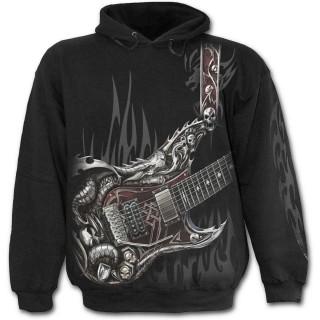 Sweat capuche gothique noir pour enfant à guitare avec dragon et cranes