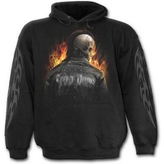 Sweat capuche gothique noir pour enfant à motard Mohawk en squelette