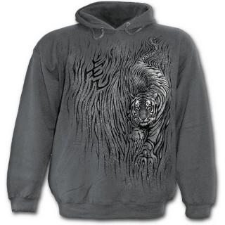 Sweat capuche gris pour enfant avec tigre féroce