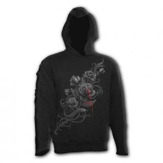 Sweat capuche homme avec rose noire et serpent