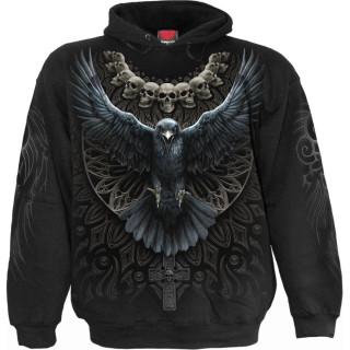 Sweat capuche homme à corbeau ailes déployées et cranes