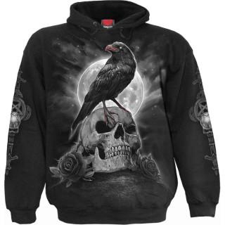 Sweat capuche homme à corbeau sur crane et marcheur de la Mort