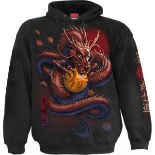 Sweat capuche homme à dragon asiatique tenant une orbe magique et Samouraï