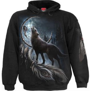 Sweat capuche homme à loup en forêt et attrape rêves amérindien
