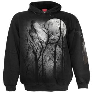 Sweat capuche homme à loup hurlant dans les arbres et pleine lune