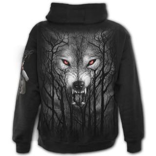 Sweat capuche homme ZIP à loup hurlant dans les arbres et pleine lune