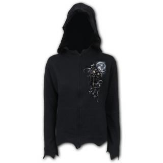 Sweat capuche zip femme gothique à licorne des ténèbres