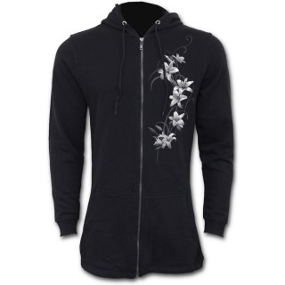 """Sweat-shirt femme queue de poisson """"coeur pur"""" avec fleurs blanches"""