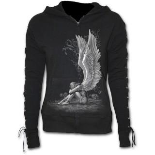 Achat Sweat-shirt gothique femme à lacets avec ange sur pentagramme ... 8b65131e4330