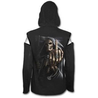 Sweat-shirt gothique femme à manches ajourées avec la Mort faisant un fuck