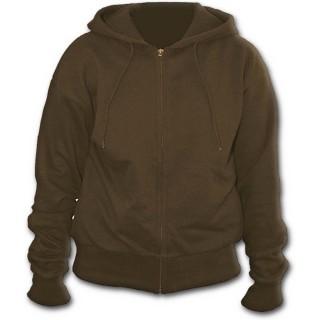 """Sweat-shirt gothique femme marron à capuche style """"METAL STREETWEAR"""""""